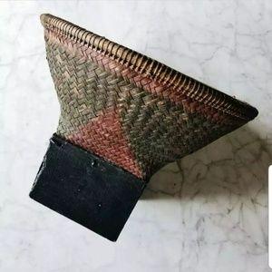 Antique 1940s Laos Southeast Asian Woven Basket